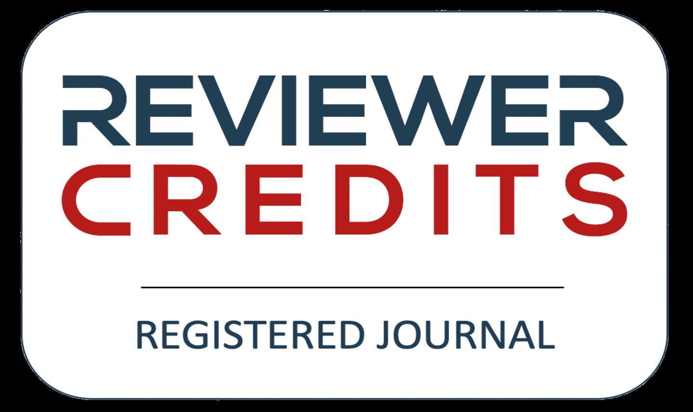 Logotipo do  ReviewerCredits com link externo para exibir a página da Revista no indexador